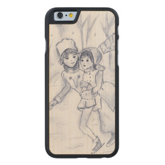 Old Fashioned Skaters in Blue II Carved Maple iPhone 6 Case
