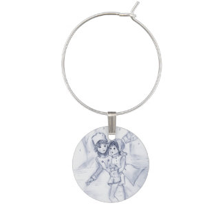 Old Fashioned Skaters in Blue II Wine Charms