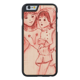Old Fashioned Skaters in Red Carved Maple iPhone 6 Case