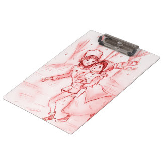 Old Fashioned Skaters in Red Clipboard