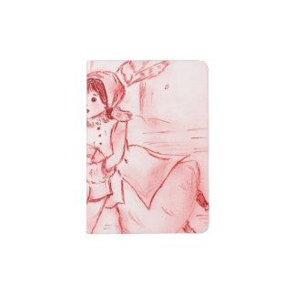 Old Fashioned Skaters in Red Passport Holder
