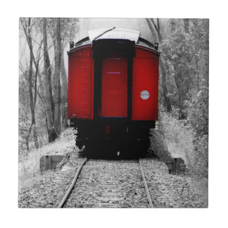 Old Fashioned Steam Train with Red Caboose Tile