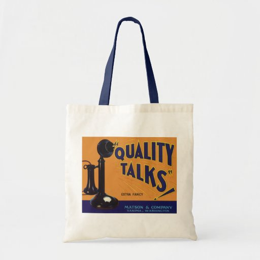 Old Fashioned Telephone Vintage Fruit Crate Label Canvas Bags