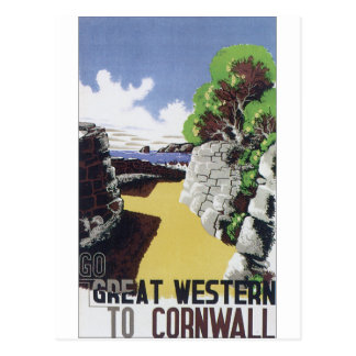 Old fashioned travel poster Great Western Postcard