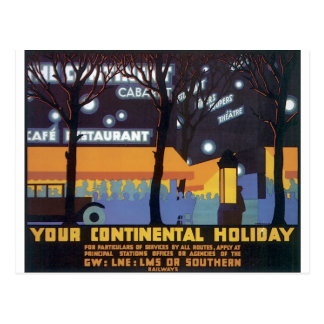 Old fashioned travel poster postcard
