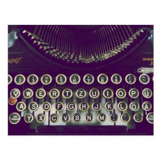 Old fashioned typewriter postcard
