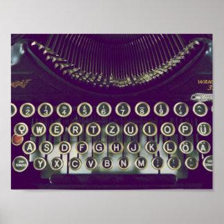 old fashioned typewriter poster
