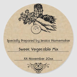 Old Fashioned Vegetable Canning Template Classic Round Sticker