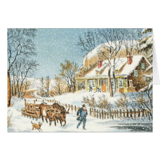 Old-Fashioned Vintage Christmas Card Blank Inside