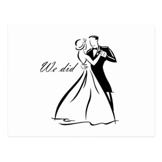 Old Fashioned Wedding Couple dancing Postcards