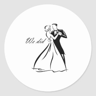 Old Fashioned Wedding Couple dancing Round Sticker