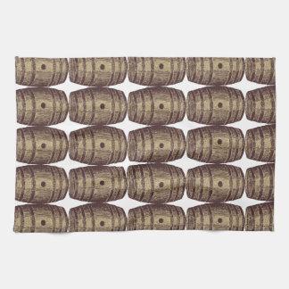 Old-fashioned Wine Barrel Pattern Tea Towel