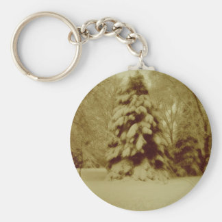 Old Fashioned Winter Snow Basic Round Button Key Ring