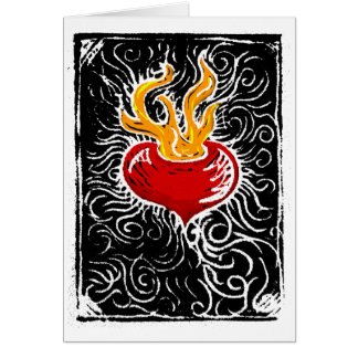 Old Fashioned Woodcut Valentine Heart Greeting Card