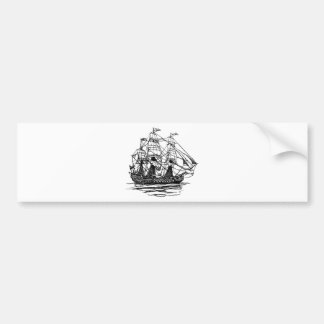 Old-Fashioned Wooden Ship Sailing on the Water Bumper Sticker