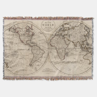 Old Fashioned World Map (1795) Throw Blanket