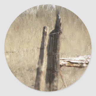 Old fence post in the Big Horns, Wyoming Round Sticker