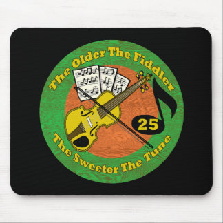 Old Fiddler 25th Birthday Gifts Mouse Pads