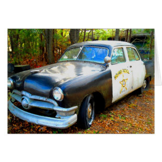 Old Fifties Highway Patrol Police Car Card