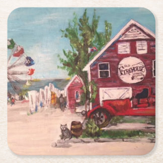 Old Firehouse, Geneva Painting on a Coaster