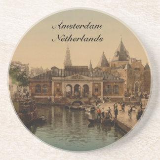 Old Fishmarket and Bourse, Amsterdam, Netherlands Beverage Coaster