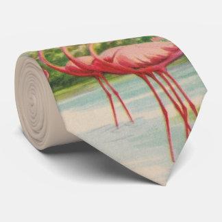 Old Florida flamingo necktie