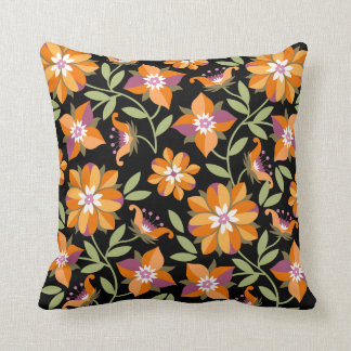 Old Flowers Black Pillow