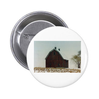 Old Gambrel Roof Barn on a Snowy Day 6 Cm Round Badge