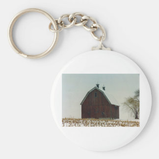 Old Gambrel Roof Barn on a Snowy Day Basic Round Button Key Ring