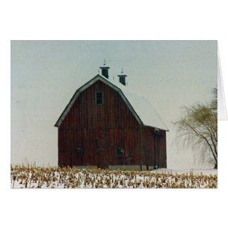 Old Gambrel Roof Barn on a Snowy Day Greeting Card