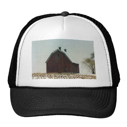 Old Gambrel Roof Barn on a Snowy Day Hats