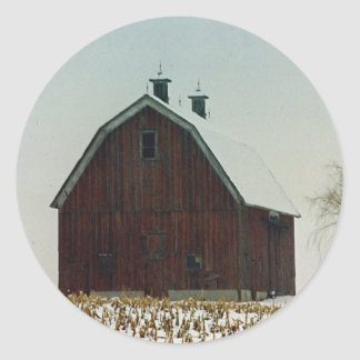 Old Gambrel Roof Barn on a Snowy Day Round Sticker