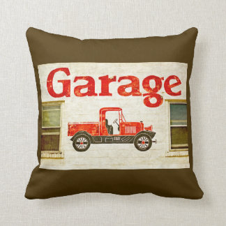 Old Garage on Brown Throw Cushions