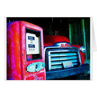 Old Gas Pump & GMC Farming Truck Card