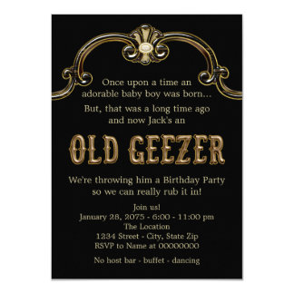 "Old Geezer Birthday Party 4.5"" X 6.25"" Invitation Card"
