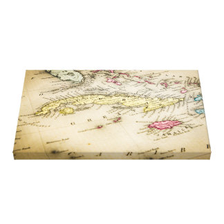 Old geographical map of Cuba Canvas Print