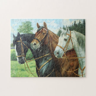 Old German Horse oil Painting portrait from 1924 Jigsaw Puzzle