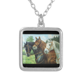 Old German Horse oil Painting portrait from 1924 Custom Necklace