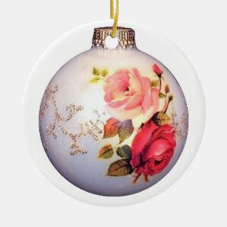 Old German Roses Ceramic Ornament