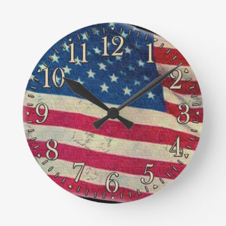 Old Glory Aged US Flag Proud Patriotic Wall Clock