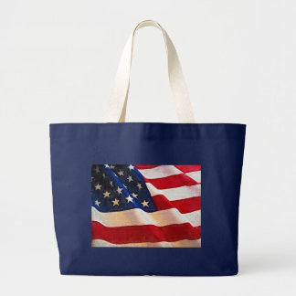 Old Glory American Flag Ripples Canvas Bag