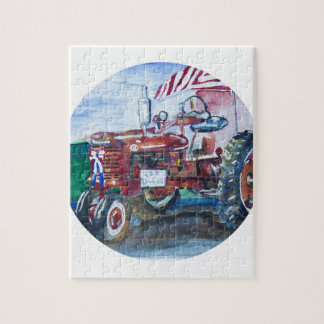 Old Glory and a Red Tractor Jigsaw Puzzle