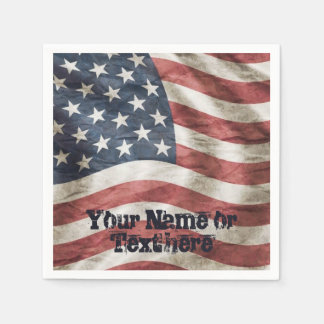 Old Glory US Flag Red, White and Blue Paper Napkin
