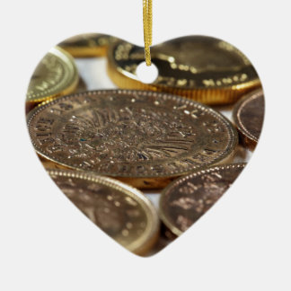 Old Gold Coins Ceramic Heart Decoration