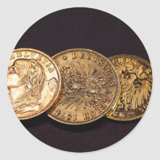 Old Gold Coins Round Sticker