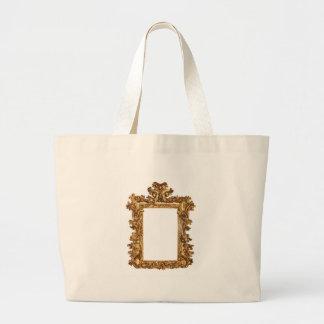 Old gold frame isolates on white jumbo tote bag