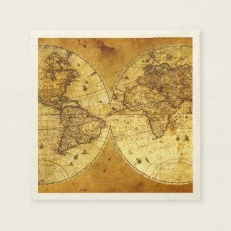 Old Golden World Map Paper Serviettes
