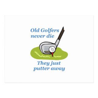 OLD GOLFERS NEVER DIE POSTCARD