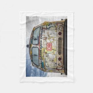 Old graffiti truck fleece blanket