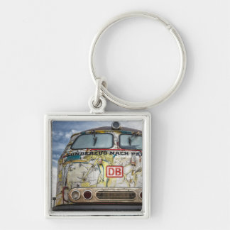 Old graffiti truck Silver-Colored square key ring